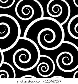 Black swirl seamless pattern.