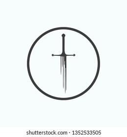 Black sword in circle isolated on white background. Isolate the black sword. Game of thrones icon. Sword icon. Vector illustration