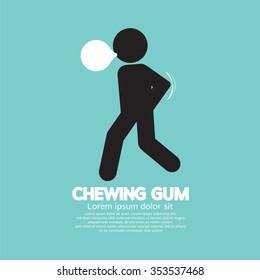 Black Symbol Chewing Gum Vector Illustration