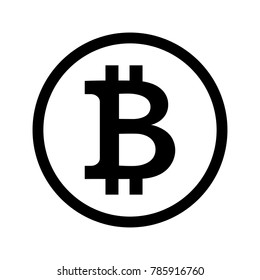 Black symbol of crypto currency Bitcoin in circle on white background. The sign of electronic money.