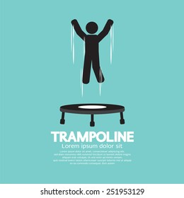 Black Symbol Of A Person Jumping On Trampoline Vector Illustration