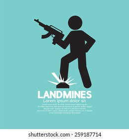 Black Symbol Of A Soldier Stepping On Landmines Vector Illustration