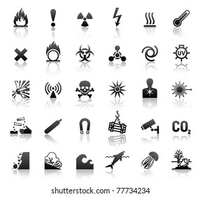 black symbols danger icons