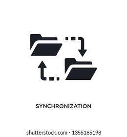 black synchronization isolated vector icon. simple element illustration from big data concept vector icons. synchronization editable black logo symbol design on white background. can be use for web