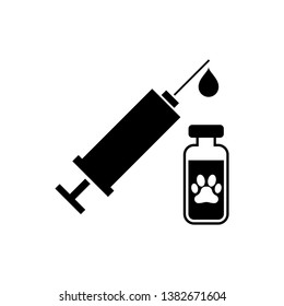 Black Syringe with pet vaccine icon isolated. Dog or cat paw print. Vector Illustration