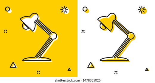 Black Table lamp icon isolated on yellow and white background. Table office lamp. Random dynamic shapes. Vector Illustration