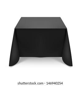 Black tablecloth. Illustration on white background for design