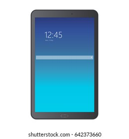 Black tablet computer Samsung Galaxy Tab with blue screen isolated. Screen with search bar, clock and date. Vector illustration