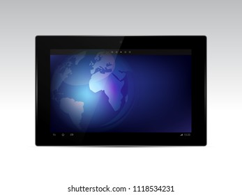 Black tablet with earth globe on the screen isolated on white background. Vector illustration.