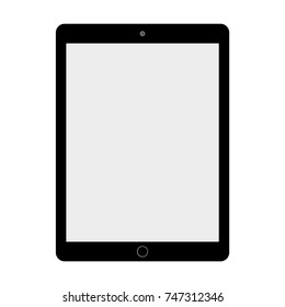 Black tablet with grey screen on white background.
