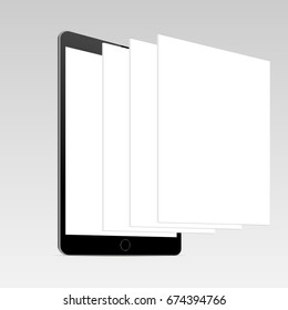 Black Tablet IPad Mini Mockup With Blank Screen And Framework Web Pages Template For