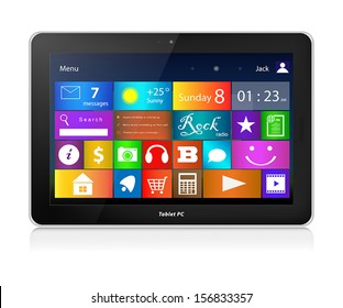 Black Tablet Laptop Computer with metro interface. Horizontal orientation of screen. Vector illustration, isolated on white background.