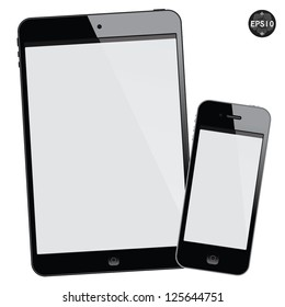 Black tablet mini and smart phone on white background, vector
