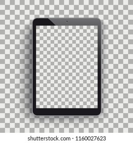 Black tablet pc with blank screen and shadow on the checked background. Eps 10 vector file.