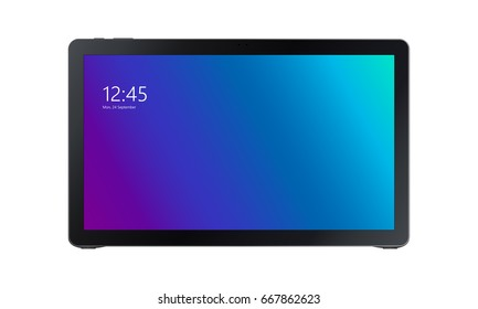 Black tablet Samsung Galaxy View with colourful violet-blue screen isolated on white background. Screen with clock and date. Vector illustration