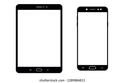 Black tablet and smartphone set with white screen isolated on white. Black tablet and smartphone top, vector set. Blank screen smartphone and tablet.