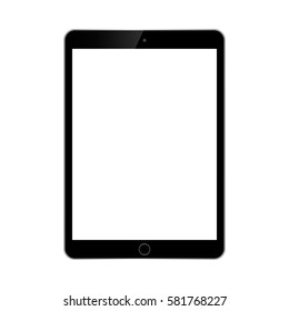 black tablet with white screen on white background. ipad style tablet