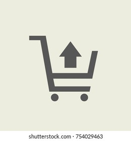 Black take out from cart icon with up arrow, simple commerce shopping flat design vector pictogram vector for app ads logotype web website button ui ux interface elements isolated on white background