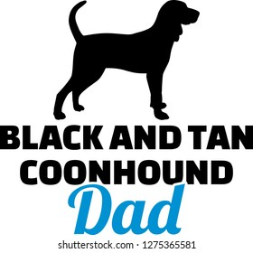 Black and Tan Coonhound dad silhouette with blue word