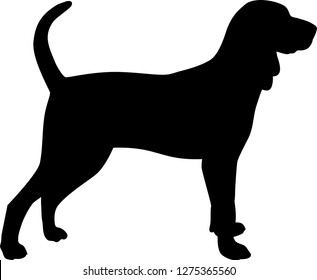 Black and Tan Coonhound silhouette real in black