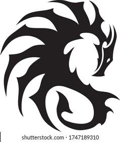 Black tattoo dragon digital eps print, vector template art