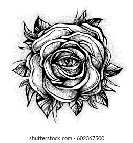 Black tattoo Rose flower With the eye on white background. Tattoo design, mystic symbol. New school dotwork. Boho design. Print, posters, t-shirts and textiles. vector illustration
