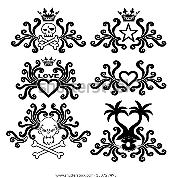 Black tattoo set. Love and death. Gothic style. Vector illustration.