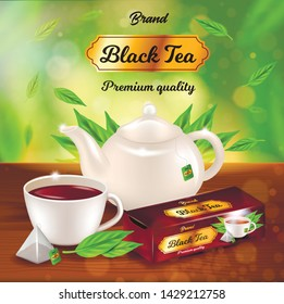 Black Tea Advertising Banner, Porcelain Pot, Cup with Dark Beverage, Paper Package Design on Wooden Table Background with Green Leaves, Space for Name Brand, Promo Ad, 3d Vector Realistic Illustration