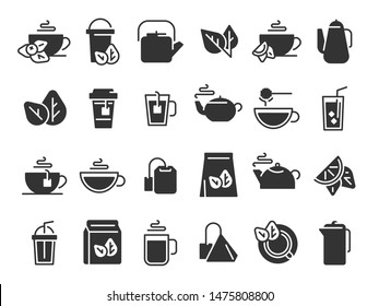 Black tea leaves icons. Hot drink cup, cold iced tea and teapot with steam pictogram. Organic herbal or mint teas logotype, eco leaf tea sign and teapot. Isolated icon vector set
