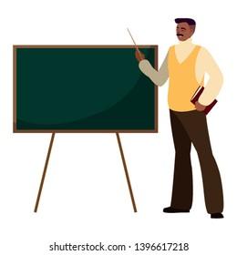 black teacher with chalkboard vector illustration design