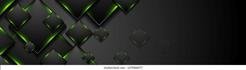 Black tech squares with green glowing neon light abstract banner design. Vector background