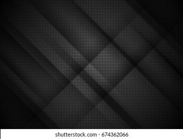 Black tech stripes abstract background with squares texture. Vector design