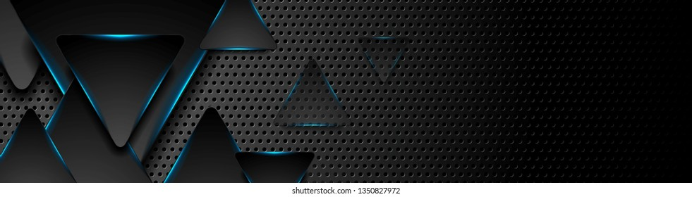 Black tech triangles with blue glowing neon light abstract banner design. Vector background