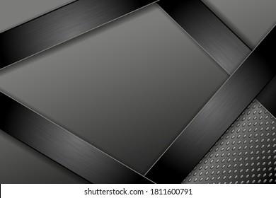 Schwarzer Technologie-Hintergrund mit unterschiedlichen Texturen. Rost schwarzes Metall und strukturierter Stahl. EPS10