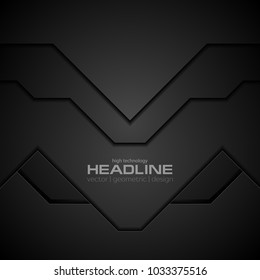 Black technology concept abstract background. Vector corporate design