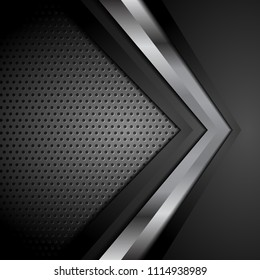 Black technology perforated background with metallic arrow. Vector design