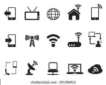 black telecom icons set