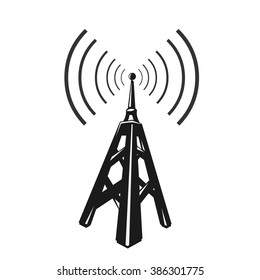 Black telecommunications signal transmitter.  Vector illustration icon of a radio tower silhouette. Telecommunications and broadcasting industry concept icon.