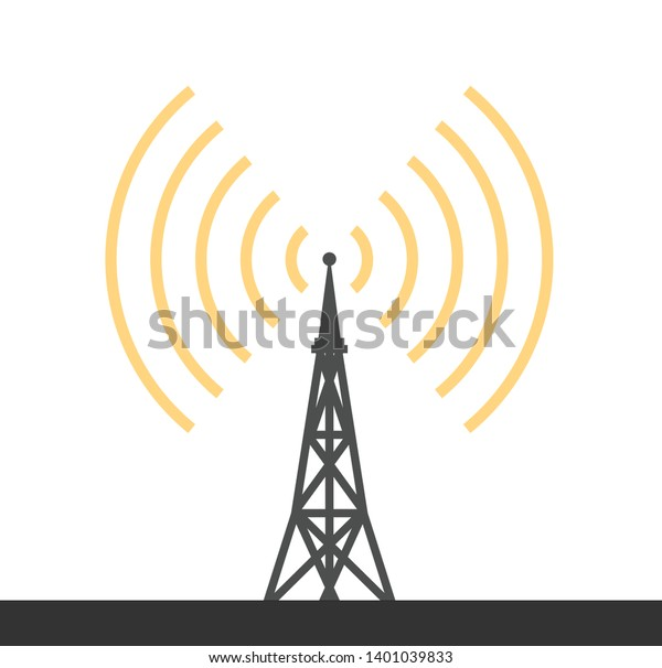 Black telecommunications signal transmitter. Vector illustration icon of a radio tower silhouette. Telecommunications and broadcasting industry concept icon. - Vector illustration