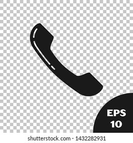 Black Telephone handset icon isolated on transparent background. Phone sign.  Vector Illustration
