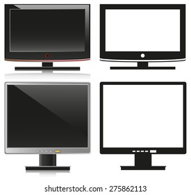 Black television and silver computer on a white background