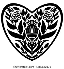 black template of heart drawn with flowers and ornaments in folk style on a white background, vector drawing