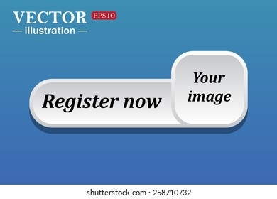 Black text on white button for web sites. Blue background with shadow. Your image.  button for a site. Register now. Vector illustration, EPS 10