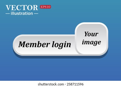 Black text on white button for web sites. Blue background with shadow. Your image.  button for a site. Member login. Vector illustration, EPS 10