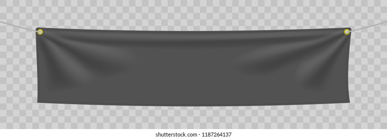 Black textile banner with folds