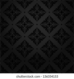 Black texture tile wallpaper. Floral pattern. A seamless vector background.