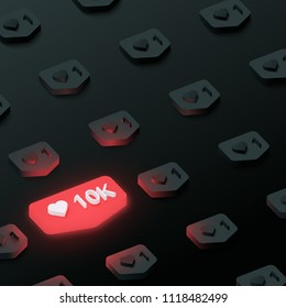 Black textured background with red 3d 10k likes counter web sign. Vector illustration.