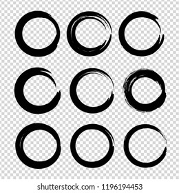 Black textured circle smears set isolated on imitation transparent background