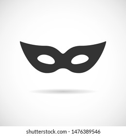 Black theatrical mask vector icon isolated on white background