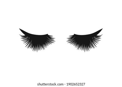 Black thick eyelashes and an arrow. Vector stock illustration eps10.